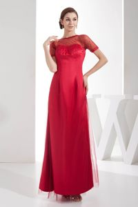 Beaded Red Mother Bride Dress Ankle Length with Short Sleeves