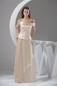Off shoulder Ivory Mothers Dresses for Wedding with Beading