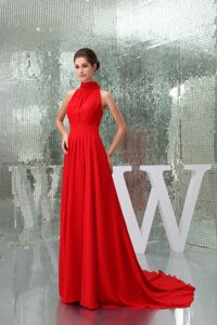 High-neck Chiffon Mother of the Bride Dresses with Court Train in Red