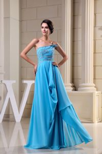 Chiffon Strapless Brush Train Beaded Mothers Outfit Aqua Blue