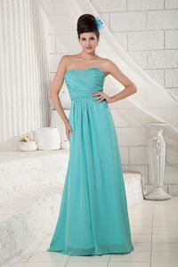 Mother Bride Dress Turquoise Sweetheart Chiffon with Brush Train