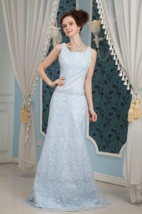 Light Blue Mother Bride Dresses with Brush Train and Lace