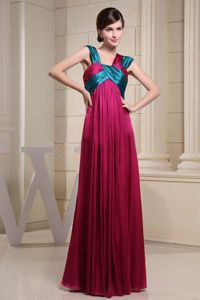 Asymmetrical Neckline Mothers Dresses with Ruches in Hot Pink