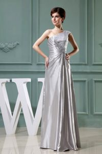 Beaded One Shoulder Grey Floor-length Mothers Dresses Taffeta