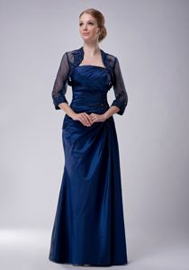 Strapless Navy Blue Floor-length Mother Bride Dress in Taffeta