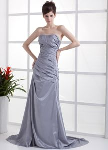Beaded Grey Taffeta 2013 Mother of the Bride Dresses Brush Train