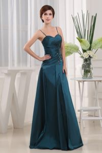 A-Line Floor-length Taffeta Appliques Teal Mother Bride Dress