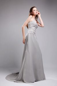 Sweetheart Chiffon Grey Mother Bride Dresses with Brush Train