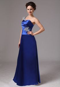 Royal Blue Beaded One Shoulder Mother of Bride Dress with Ruches