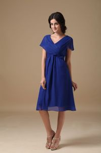 Royal Blue Mother of the Bride Dress A-line V-neck in Chiffon
