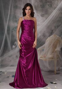 One Shoulder Fuchsia Mothers Dresses Taffeta with Appliques