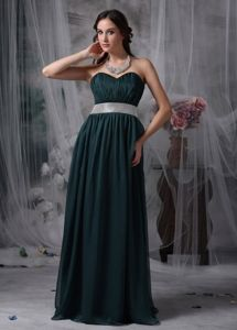 Green Mother Bride Dress Sweetheart Chiffon with Brush Train