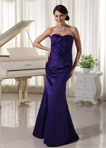 Ruched Sweetheart Mother of the Bride Dress Taffeta Dark Purple