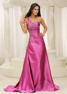 One Shoulder Beaded Satin Mothers Dresses for Formal Prom in Pink