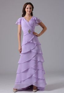 Multi-layer Lavender V-neck Beaded Mother Bride Dresses with Ruche