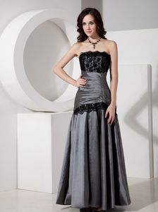 New Grey Strapless Lace Accent Dresses for Bride Mother with Ruche