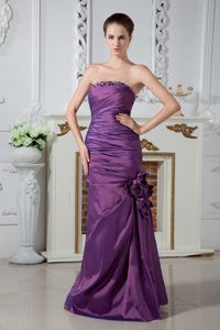 Purple Ruche Mother of the Groom Dress with Hand Made Flowers