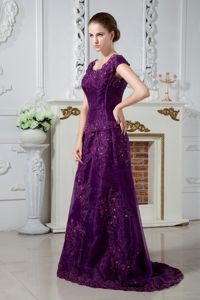 Purple Scoop Brush Train Mother of Bride Dresses with Appliques