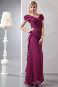 Wine Red V-neck Dresses for Bride Mother with Beading and Ruches
