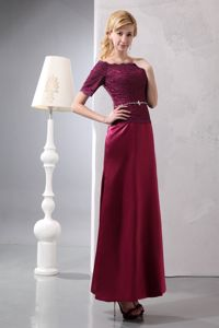 Burgundy off the Shoulder Mother Bride Dresses with Half Sleeves