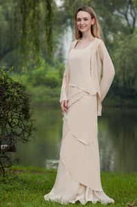 Multi-layer Chiffon Square Neckline Mothers Dresses with Floor-length