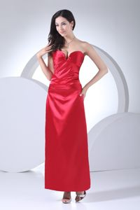 Stylish Red Sweetheart Taffeta Mother Bride Dress with Ankle-length