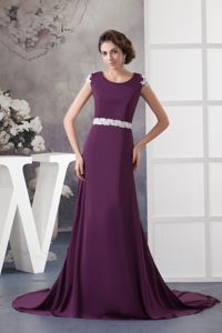 Purple Scoop Brush Train Mother of the Bride Outfits with Applique