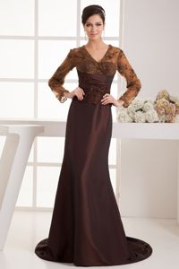 Brown V-neck Appliques Dress for Bride Mother with Long Sleeves