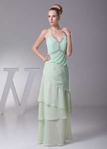 Apple Green Straps V-neck Mother of the Bride Dress with Beading