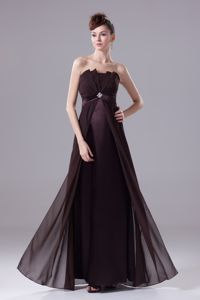 Brown Strapless Chiffon Mother of the Bride Outfits with Beading