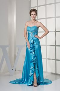 2014 Sweetheart Beaded Ruche Mother Bride Dress with Brush Train