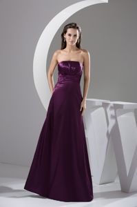 Purple Strapless Ruche Taffeta Mother Bride Dress with Zipper Side