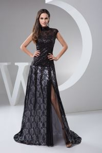 High Neck Sequin Lace Mother of Bride Dresses with Slit on the Side