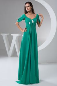 Turquoise Cap Sleeves Ruched Chiffon Mothers Dresses on Discount