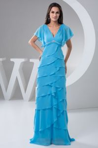 Multi-layer V-neck Beading Mother Bride Dresses with Gore Sleeves