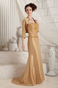 Gold Strapless Appliques Mother of the Groom Dresses Brush Train