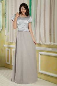 Hot Scoop Satin and Chiffon Mother Bride Dress with Short Sleeves