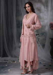 Pink Asymmetrical Mothers Dresses for Formal Prom with Appliques