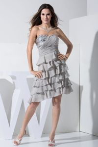 Grey Mother Bride Dress with Sequins and Ruffles Sweetheart