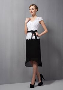 Tea-length Lace and Chiffon Mother of the Bride Dress in Black and White