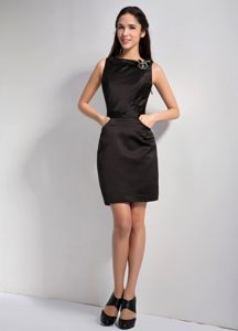 Black Bateau Mother Bride Dress Mini-length Hand Made Flower
