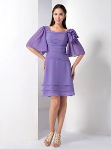 Purple Knee-length Chiffon Mother of the Bride Dress for Summer Wedding