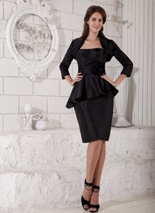 Black Strapless Knee-length Taffeta Mother of the Bride Dresses for Prom