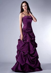 Spaghetti Straps Purple Mother Bride Dresses Satin with Beading