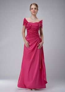Hot Pink Off The Shoulder Ankle-length Ruched Mother of the Bride Dresses