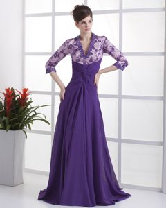 Lace V-neck Purple Brush Train 2013 Mother of the Bride Dresses with Beading