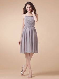 Grey Mother of the Bride Dresses with Beading and Spaghetti Straps Knee-length