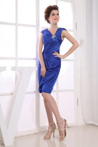 Royal Blue Mother of the Bride Dress V-neck Knee-length Satin