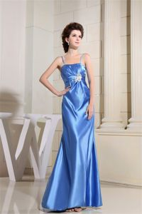 Beaded Sky Blue Mother Bride Dresses with Straps Floor-length
