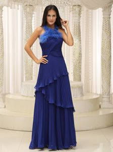 Feather Halter Top and Pleat 2013 Mother of the Bride Dresses Royal Blue